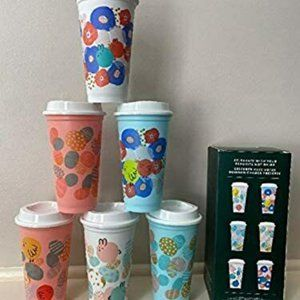 6 Starbucks Hot Cups 16fl oz Cups and Lids